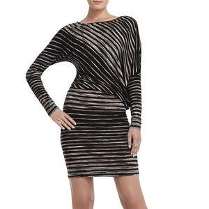 Bcbg stripe asymmetrical dress